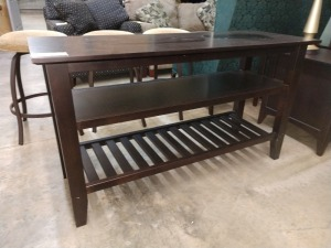 COUCH TABLE / TV STAND, 19-IN BY 52-IN X 29-IN HIGH, DOES HAVE SOME SCRATCHES ON TOP SEE PICTURES