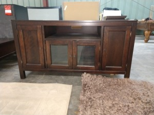 VERY NICE ENTERTAINMENT CABINET, 23-IN X 56-IN X 30-IN HIGH, HAS LOTS OF STORAGE BEHIND FOUR DOORS