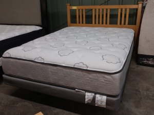 VERY NICE LIGHT WOOD QUEEN SIZE BED, COMES WITH HEADBOARD AND METAL MATTRESS FRAME, MATTRESS IS NOT FOR SALE BUT BUY ER MAY HAVE THEM IF THEY WANT THEM OR CAN LEAVE THEM HERE