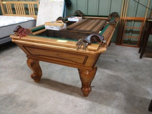 REALLY NICE SLATE POOL TABLE, 45-IN X 89-IN LONG, COMES WITH BALLS, RACK, CUE STICKS AND RACK, ALL WOOD FRAME, NICE LEATHER POCKETS, BRING HELP TO LOAD SLATE, slate is shown in picture still wrapped in moving blankets.