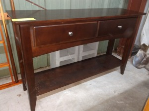 VERY NICE COUCH TABLE, 14-IN X 48-IN X 30-IN HIGH, HAS TWO DRAWERS AND LOWER SHELF