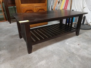 COFFEE TABLE WITH LOWER SHELF, 26-IN X 48-IN X 19-IN HIGH