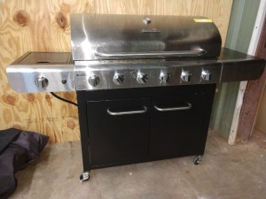 CHARBROIL GRILL, SIX BURNER WITH SIDE BURNER, 66-IN OVERALL LENGTH, COMES WITH PROPANE TANK