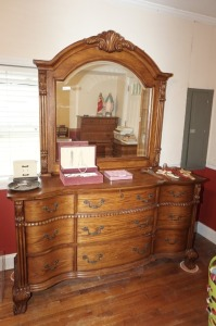 BEAUTIFUL HEAVILY CARVED DRESSER WITH CLAW FEET AND BEVELED GLASS MIRROR, MATCHES 1001 - MBR