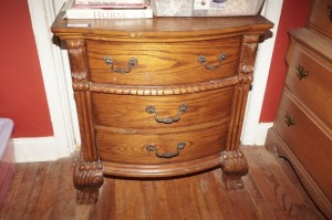 HEAVILY CARVED THREE DRAWER NIGHTSTAND WITH CLAW FEET, MATCHES 1001 - MBR