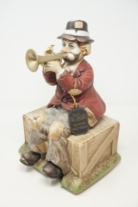 MELODY IN MOTION HAND PAINTED BISQUE PORCELAIN CLOWN FIGURINE, MADE IN JAPAN. - BR2