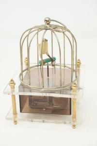VINTAGE BIRDCAGE MOTIF ARTICULATED MUSICAL FIGURINE, MADE IN JAPAN - BR2
