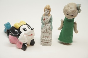 OLD BISQUE PORCELAIN FIGURINES MADE IN JAPAN, INCLUDES MID-CENTURY WALT DISNEY PRODUCTIONS MINNIE MOUSE - BR2
