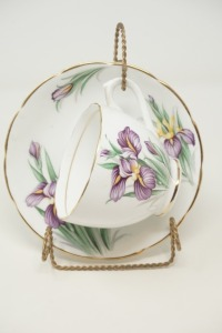 DUCHESS BONE CHINA MADE IN ENGLAND IRIS PATTERN DECORATIVE CUP AND SAUCER WITH STAND - BR2