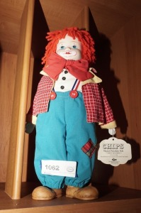 CHIPS MUSICAL PORCELAIN DOLL BY RUSS, CLOWN - BR2