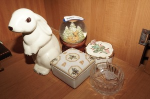 PORCELAIN TRINKET BOXES, MUSICAL SNOW GLOBE, CRYSTAL HUMMINGBIRD, AND MORE - BR2