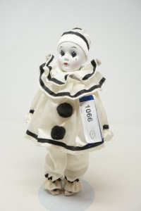 BISQUE PORCELAIN CLOWN DOLL WITH STAND - BR2