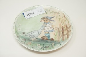 HAND PAINTED DECORATIVE PLATE, LITTLE GIRL WITH DUCKS - KTN