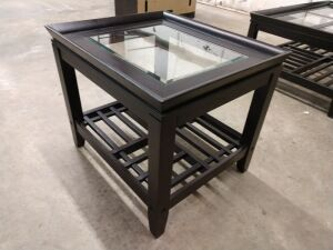 Very nice end table with glass insert and lower storage shelf, does match previous lot