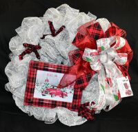 GORGEOUS CUSTOM LARGE 28 INCH CHRISTMAS WREATH  - DONATED BY BARBARA HAMLIN WITH MAGICAL MESH DESIGNS 478-747-5083