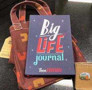 THE BIG LIFE JOURNAL GIFT SET WITH HAPPY CAMPER PIN AND TOTE