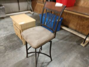 Bar stool, has swivel seat, metal frame, 26-in seat height