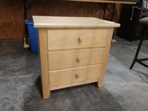 Nightstand, two drawer, light colored wood