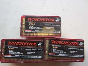 3 Boxes Winchester Varmint 22 Mag 150 Rds