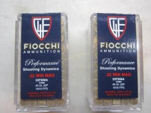 2 Boxes Fiocchi 22 Mag 100 Rounds