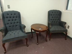 R1 LEFT... SET OF TWO TUFTED WINGBACK CHAIRS AND SMALL END TABLE, THREE PIECES TOTAL