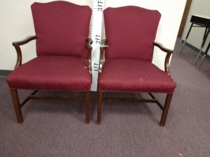 R1 LEFT... SET OF TWO UPHOLSTERED WOODEN ARMS CHAIRS