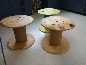 R1 RIGHT... SET OF THREE CABLE SPOOLS, GREAT FOR REPURPOSE USE