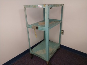 R2 RIGHT... THREE SHELF ROLLING UTILITY CART WITH MOUNTED RECEPTACLE