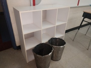 R4 RIGHT... 9 CUBE BOOKSHELF / STORAGE AND TWO GARBAGE CANS