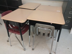 R4 LEFT... SET OF FOUR ADJUSTABLE HEIGHT STUDENT DESKS WITH FOUR CHAIRS