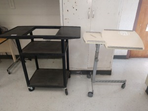 R4 LEFT... SET OF TWO ROLLING MEDIA / COMPUTER CARTS