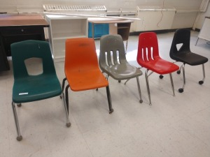 R4 LEFT... SET OF FIVE STUDENT CHAIRS