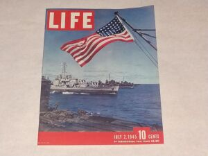 Life Magazine, Dated July 2, 1945. Sold For .10 cents, This magazine Is Very Collectible And Is In Mint Condition. Has So Many American Iconic Companies Ads Inside. Also, Has Lots Of  American Soldier Stories Inside Just A few Years After Pearl Harbor.