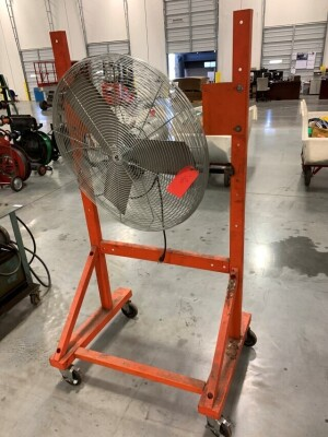 27-IN INDUSTRIAL FAN, TPI BRAND, ON ROLLING STAND