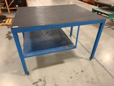 48-IN X 60-IN METAL FRAME ROLLING TABLE WITH WOODEN TOP