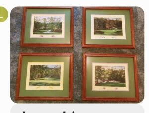 4  Large 2005 Masters SIGNED Prints From The Amen Corner of Agusta EACH MEASURE 23X27 AND CUSTOM FRAMED - DONATED BY LISA GARRETT / ESTIMATED VALUE $800