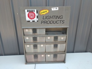 WORK BENCH SMALL PARTS OR NUTS AND BOLTS HOLDER, METAL CABINET WITH PLASTIC HOLDERS