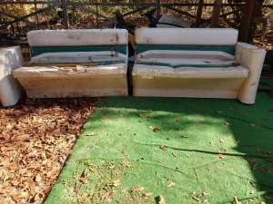APPROXIMATELY 9 FT LONG 2 SECTION PONTOON BOAT SEATS,can be used as long bench as shown or split into two sets, THESE ARE MOLDED PLASTIC FRA MES AND WILL LAST FOREVER, OBVIOUSLY NEEDS REUPHOLSTERY