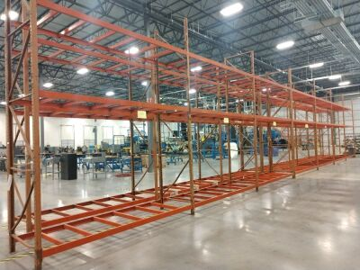 PALLET RACK SYSTEM, 16-FT TALL LEGS, THERE ARE SEVEN OPENINGS AT 11 1/2-FT EACH OPENING, THIS GROUP IS IN TWO SECTIONS, ANY CONTENT SEEN IN PICTURES IS NOT INCLUDED