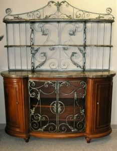 BEAUTIFUL ORNATE SIDEBOARD WITH MARBLE TOP AND SHELVES