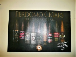 PERDOMO CIGAR ADVERTISEMENT ON CANVAS SIGNED BY NICK PERDOMO