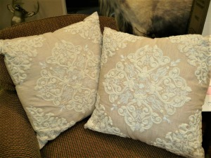 LOT OF TWO LARGE DECORATIVE PILLOWS