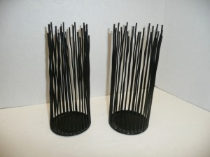 TWO DECORATIVE CANDLE HOLDERS