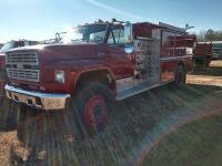 1987 FORD F-800, EMA VEHICLE, FIRE TRUCK, V I N NUMBER 1 F D Y T 8 4 A 7 H V A 2 4 8 2 1, MILES SHOWING 27419, SELLER STATES RUNS AND DRIVES, WAS DRIVEN TO THIS SITE FOR AUCTION - 3