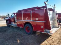 1987 FORD F-800, EMA VEHICLE, FIRE TRUCK, V I N NUMBER 1 F D Y T 8 4 A 7 H V A 2 4 8 2 1, MILES SHOWING 27419, SELLER STATES RUNS AND DRIVES, WAS DRIVEN TO THIS SITE FOR AUCTION - 2