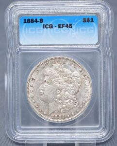 1884 S MORGAN DOLLAR IN SLAB