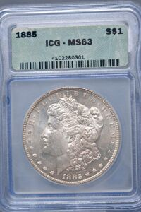 1885 MORGAN DOLLAR IN SLAB