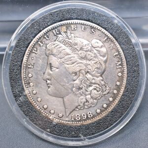 1898 O  MORGAN DOLLAR IN CAPSULE