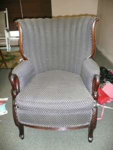 ANTIQUE CHANNEL BACK CHAIR WITH GOOSENECK ARMS