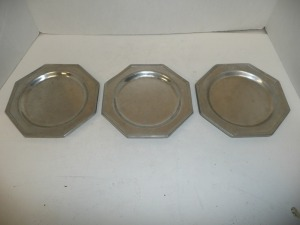 LOT OF THREE PEWTER PLATES